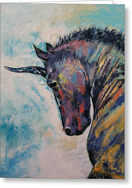 Black Unicorn Greeting Cards - Unicorn Greeting Card by Michael Creese