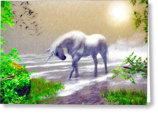 Phantasy Greeting Cards - Unicorn Moon Greeting Card by Bob Orsillo
