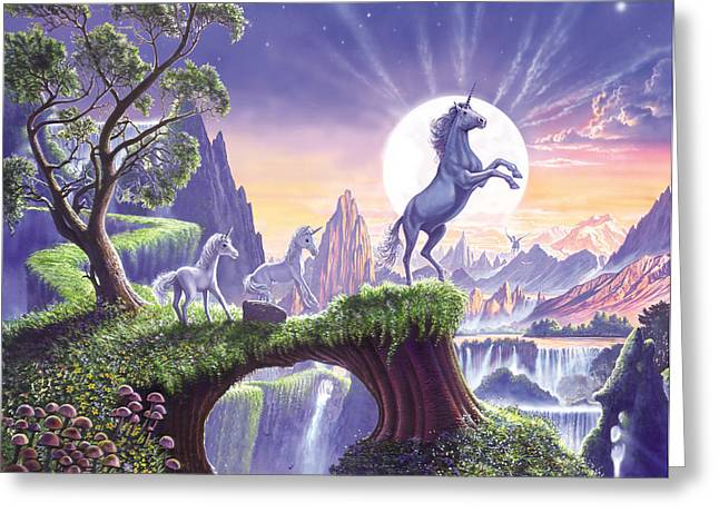 Crisp Greeting Cards - Unicorn Moon Greeting Card by Steve Crisp