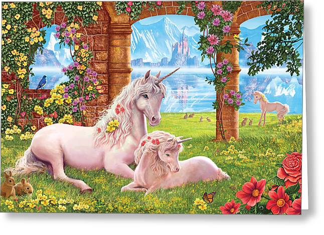 Crisp Greeting Cards - Unicorn Mother and foal Greeting Card by Steve Crisp