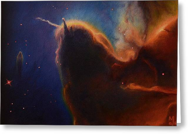 Stellar Paintings Greeting Cards - Unicorn Nebula Greeting Card by Maja  Opacic