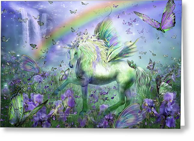 Romanceworks Greeting Cards - Unicorn Of The Butterflies Greeting Card by Carol Cavalaris