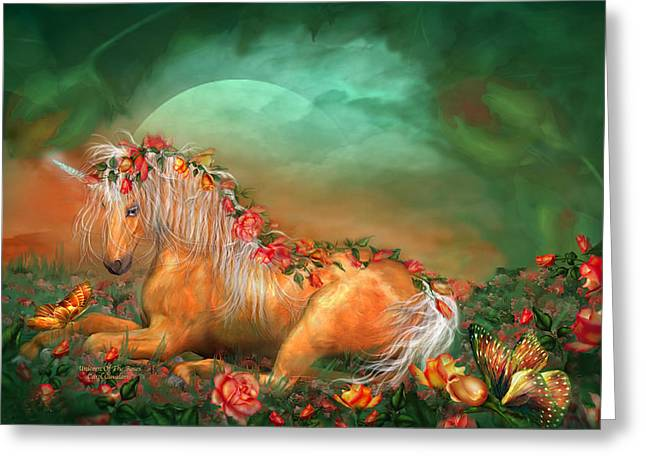 Unicorn Of The Roses Greeting Card by Carol Cavalaris
