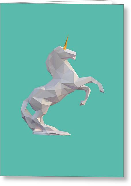 Fabled Digital Greeting Cards - Unicorn Greeting Card by Pollyanna Illustration