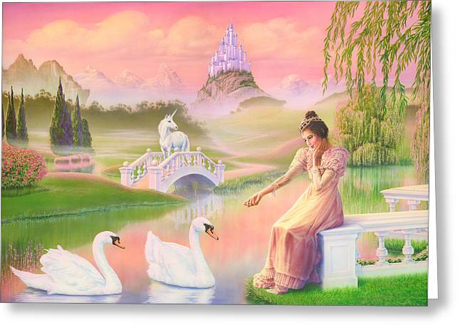 Swans... Greeting Cards - Unicorn Princess Swans on Lake Greeting Card by Andrew Farley