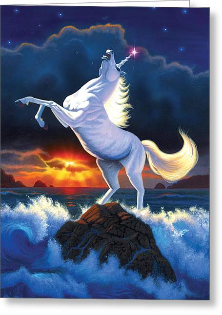 Fantasy Creature Photographs Greeting Cards - Unicorn Raging Sea Greeting Card by Chris Heitt