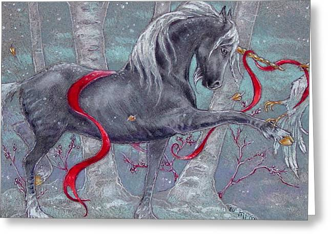 Black Unicorn Greeting Cards - Unicorn Snow Bird Greeting Card by Michelle Albert