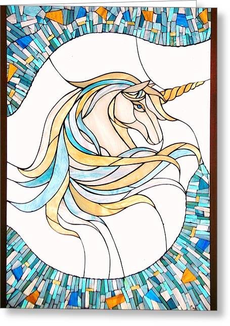 Horse Glass Greeting Cards - Unicorn Greeting Card by Suzanne Tremblay