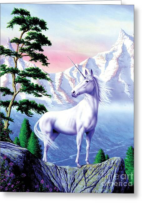 Unicorn The Land That Time Forgot Greeting Card by Garry Walton