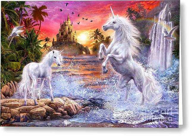 Mysterious Digital Greeting Cards - Unicorn Waterfall Sunset Greeting Card by Jan Patrik Krasny