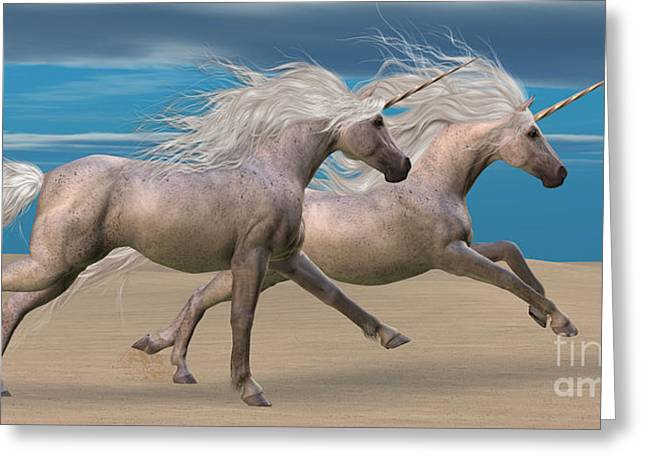 Fabled Greeting Cards - Unicorns Greeting Card by Corey Ford