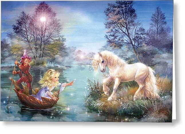 Unicorns Lake Greeting Card by Zorina Baldescu