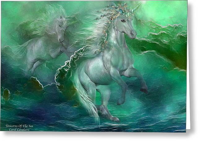 Fantasy Mixed Media Greeting Cards - Unicorns Of The Sea Greeting Card by Carol Cavalaris