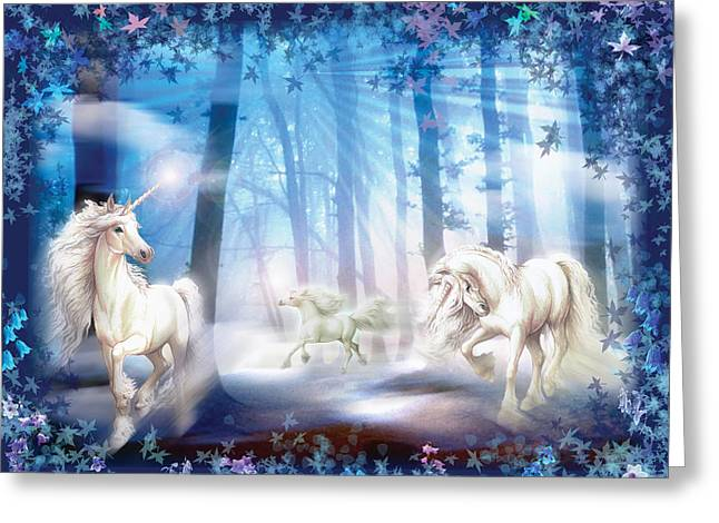 Dreamlike Greeting Cards - Unicorns Greeting Card by Zorina Baldescu