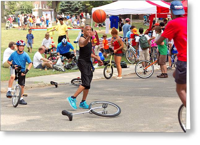 Governor Island Greeting Cards - Unicyclist - Basketball - Street rules  Greeting Card by Mike Savad