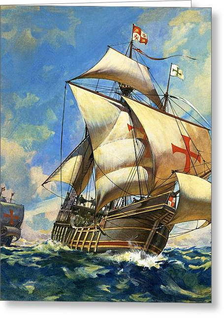 """sailing Ship"" Greeting Cards - Unidentified Sailing Ships Greeting Card by Andrew Howat"