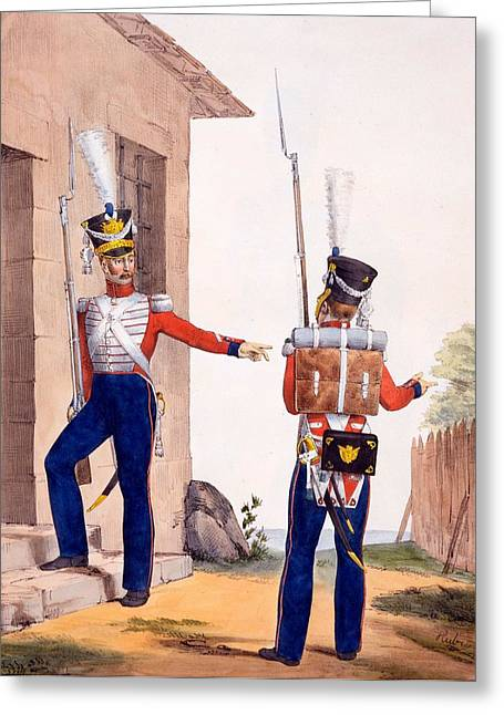 Uniformed Greeting Cards - Uniform Of The 8th Infantry Regiment Greeting Card by Charles Aubry