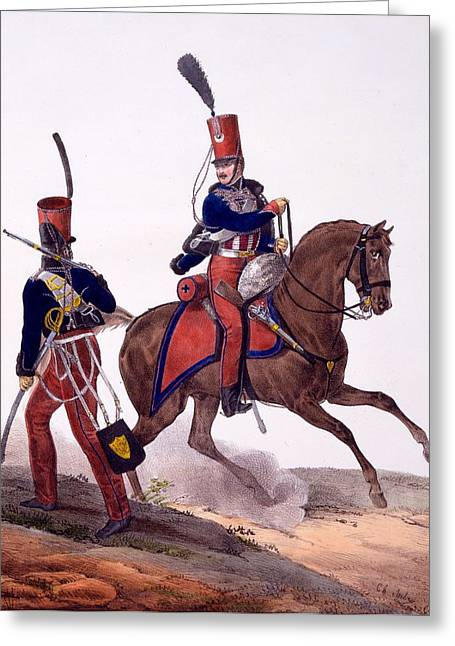 Outfit Drawings Greeting Cards - Uniforms Of The 5th Hussars Regiment Greeting Card by Charles Aubry
