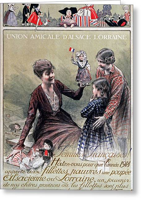 Alsace Greeting Cards - Union Amicale Dalsace Lorraine, 1918 Greeting Card by Henri Royer