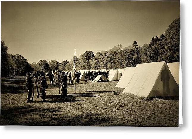 Re-enactment Greeting Cards - Union Army Camp - Civil War Greeting Card by Bill Cannon