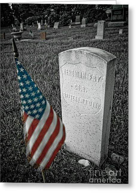 Headstones Greeting Cards - Union Army Civil War Veteran Headstone Hygiene CO Greeting Card by James BO  Insogna
