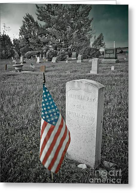 Headstones Greeting Cards - Union Army Civil War Veteran Headstone Greeting Card by James BO  Insogna