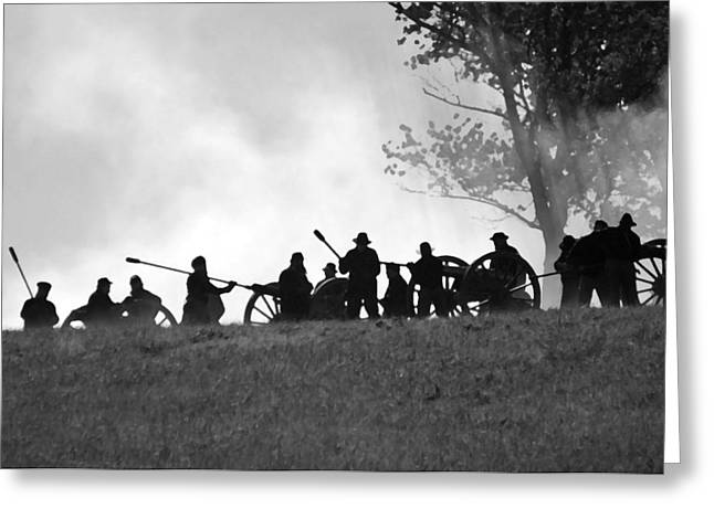 Americans Tapestries - Textiles Greeting Cards - Union Artillery on Websters Hill - Perryville KY Greeting Card by Thia Stover