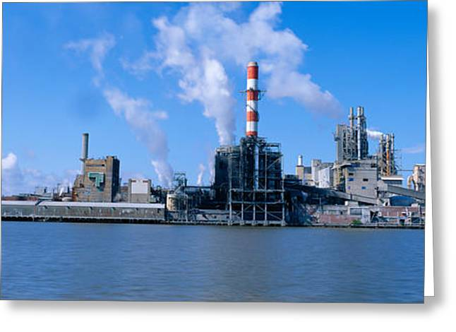 Emissions Greeting Cards - Union Camp Paper Mill, Savannah River Greeting Card by Panoramic Images