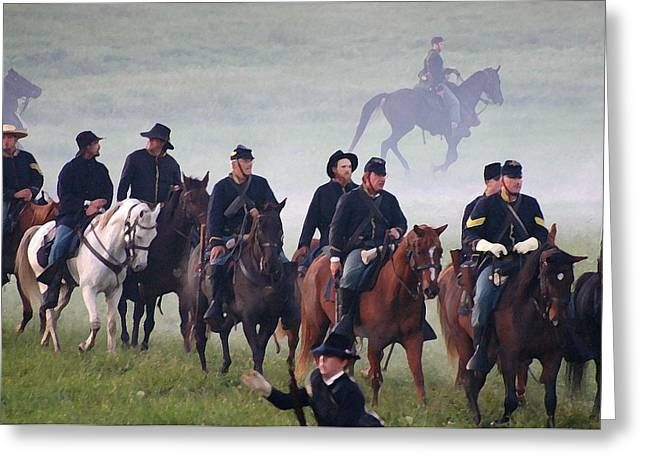 Civil War Battle Site Greeting Cards - Union Cavalry on the March - Perryville KY Greeting Card by Thia Stover