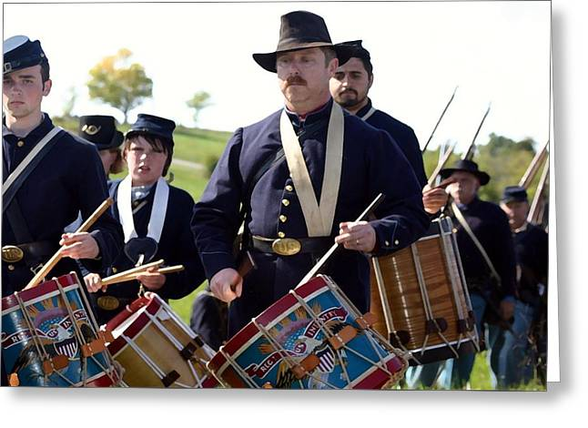 Afternoon Battle Greeting Cards - Union Drum Corps Perryville KY Greeting Card by Thia Stover