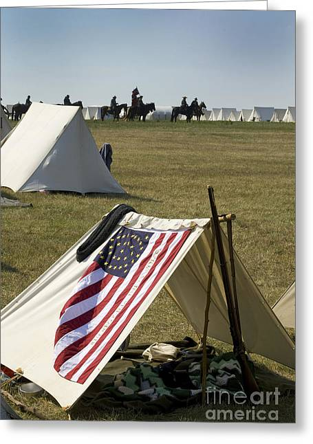 Reenactment Greeting Cards - Union Encampment Greeting Card by Paul W Faust -  Impressions of Light