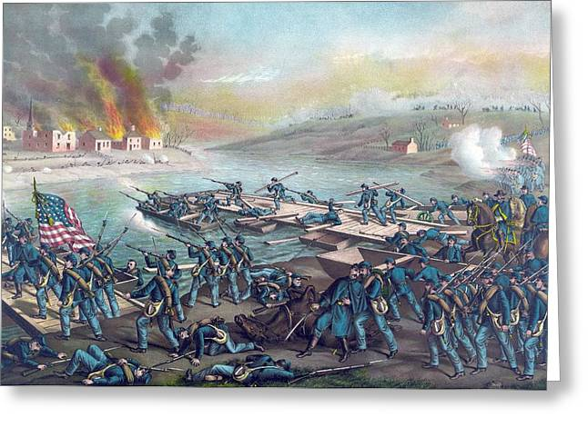 Under Fire Greeting Cards - Union forces under Burnside crossing the Rappahannock Greeting Card by American School