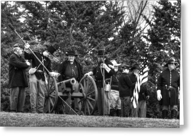 Confederate Flag Greeting Cards - Union Gun Crew Greeting Card by John Straton