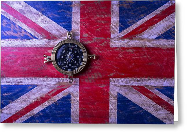 Longitude Greeting Cards - Union Jack And Compass Greeting Card by Garry Gay