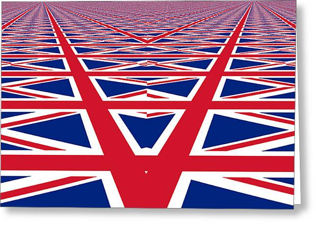 Union Jack Perspective Greeting Card by Kurt Van Wagner