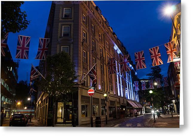 Historic Home Greeting Cards - Union Jacks - Seven Dials - Covent Garden - London - UK Greeting Card by Georgia Mizuleva