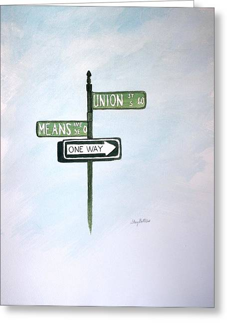 Charlotte Paintings Greeting Cards - Union Means One Way Greeting Card by Stacy C Bottoms