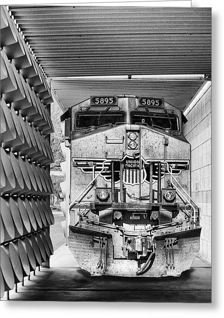 Www.williamdey.com Greeting Cards - UNION PACIFIC 3 BW Palm Springs Greeting Card by William Dey