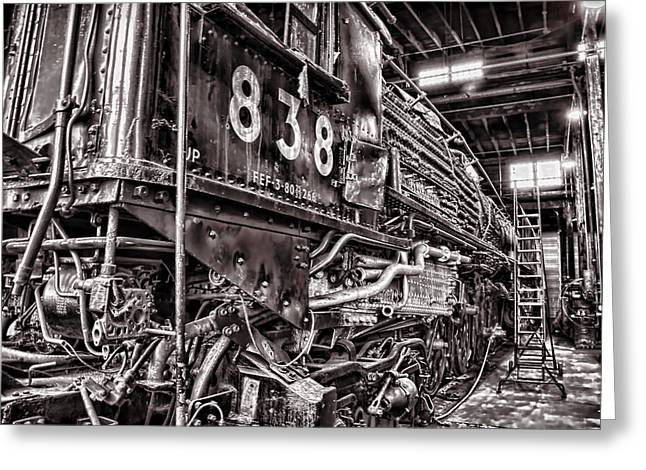 Engine House Greeting Cards - Union Pacific 838 in the Roundhouse Greeting Card by Ken Smith