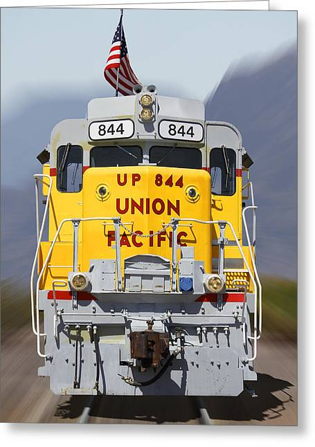 Union Pacific 844 On The Move Greeting Card by Mike McGlothlen