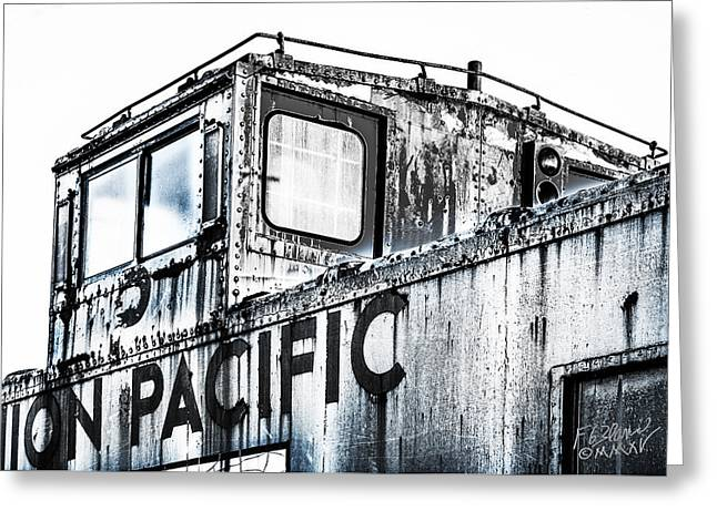 Old Caboose Greeting Cards - Union Pacific Caboose - Monochrome Greeting Card by F Leblanc
