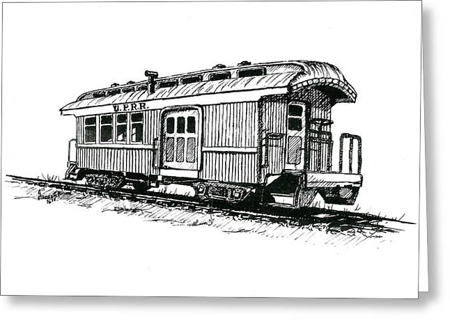Union Drawings Greeting Cards - Union Pacific Combine Car Greeting Card by Sam Sidders