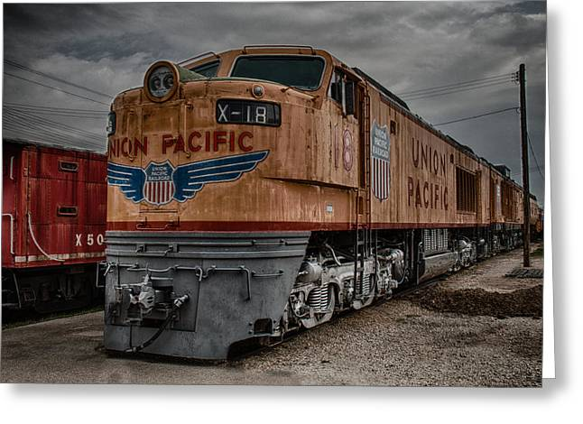Train Depot Greeting Cards - Union Pacific Engine Greeting Card by Mike Burgquist
