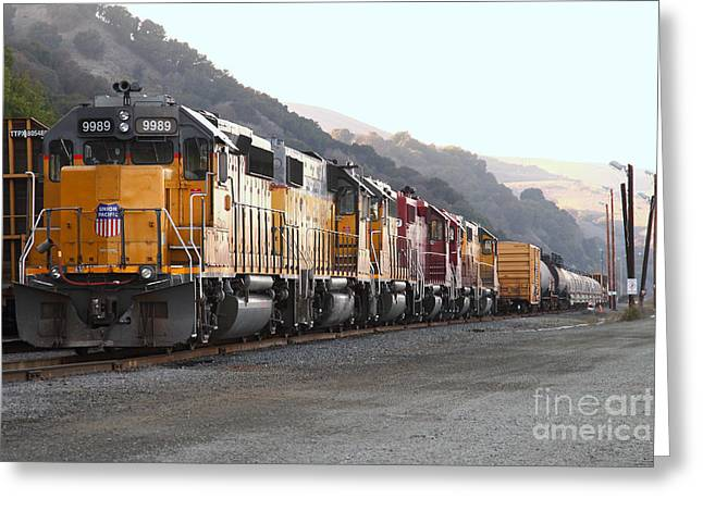 Boxcars Greeting Cards - Union Pacific Locomotive Trains . 7D10563 Greeting Card by Wingsdomain Art and Photography