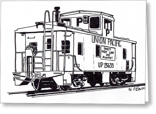 Caboose Drawings Greeting Cards - Union Pacific Pool Caboose Greeting Card by Craig Bass