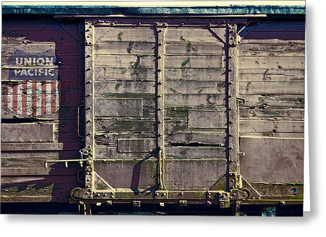 Boxcars Greeting Cards - Union Pacific R R Boxcar Greeting Card by Daniel Hagerman
