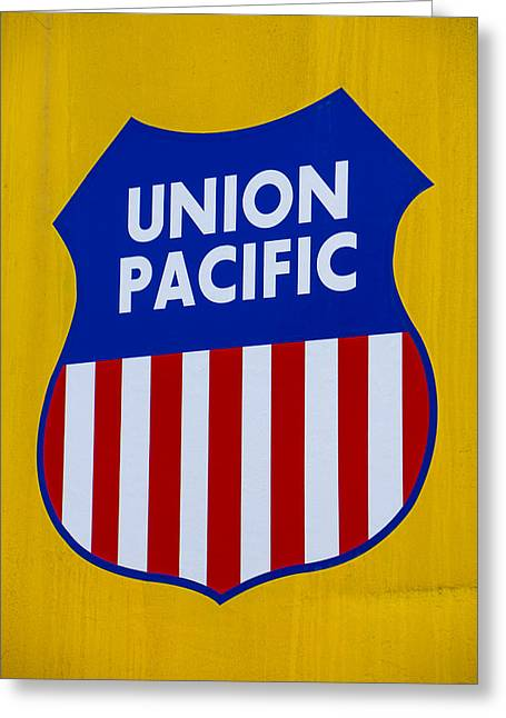 Boxcars Greeting Cards - Union Pacific raolroad sign Greeting Card by Garry Gay
