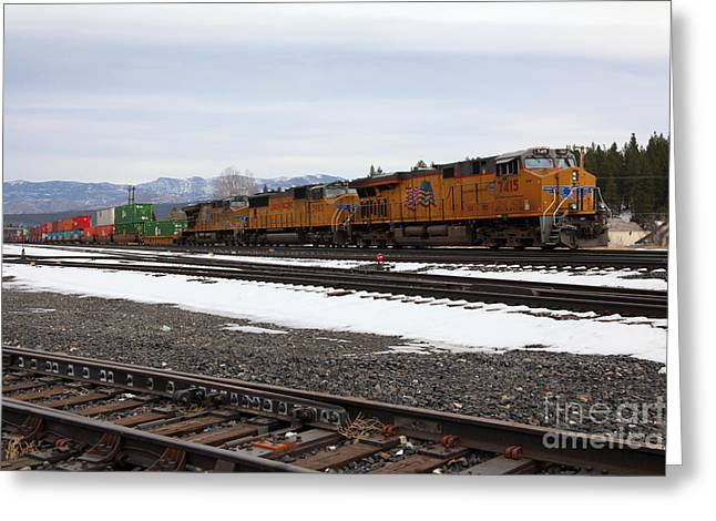 Transporation Greeting Cards - Union Pacific Trains in Snowy Truckee California 5D27559 Greeting Card by Wingsdomain Art and Photography