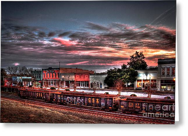 Rhodes Greeting Cards - Union Point GA Sunset Greeting Card by Reid Callaway