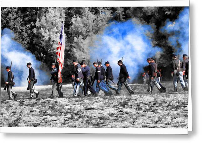 Confederate Flag Greeting Cards - Union Soldiers March Greeting Card by Steve McKinzie